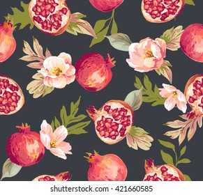 Seamless pomegranate with flower pattern background