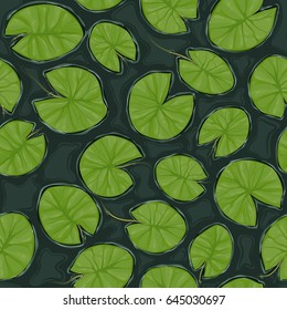 Seamless pond texture with lily pads on the surface, top view