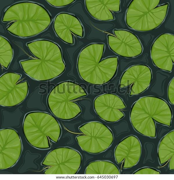 Бесшовная текстура пруда с лилии подушечки на поверхности, вид сверху