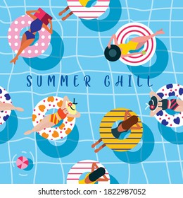 A seamless pool party illustration pattern. A top view of a pool party with women laying on the inflatables with their summer bikini wears.Fun and quirky summer theme background and vector.