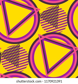 Seamless Pop Art Background. Abstract Colorful Texture with Lines and Geometric Figures for Print, Fabric, Textile.  Modern Seamless Multicolor Background in Disco Style. Vector Texture.