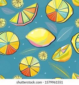 Seamless Pop Art citrus pattern with stylized leaves. Summer background. Vector bright print for fabric, wrapping paper.