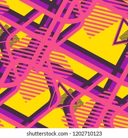 Seamless Pop Art Pattern. Abstract Color Texture with Lines and Geometric Figures for Fabric, Cloth, Textile. Trendy Seamless Multicolor Background in Disco Style. Vector Texture.