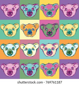 Seamless pop art pattern with funny coala