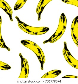 Seamless pop art style seamless pattern of bananas randomly distributed on white background. Vector Illustration.