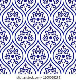 seamless porcelain floral decorative pattern damask style, Islamic blue and white modern shape for design, chinaware, ceramic, tile, ceiling, texture, wall, paper and fabric, vector illustration