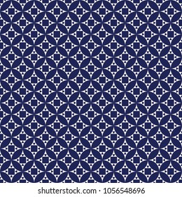 Seamless porcelain indigo blue and white vintage round exclusion pattern with squares and triangles vector