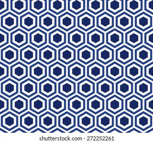 Seamless porcelain indigo blue and white honeycomb pattern vector