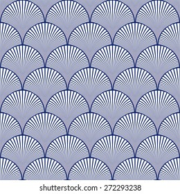 Seamless porcelain indigo blue and white japanese art deco floral waves pattern vector