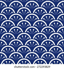 Seamless porcelain indigo blue and white japanese floral waves pattern vector