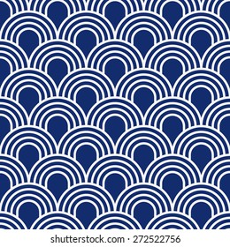 Seamless porcelain indigo blue and white simple art deco wave scales pattern vector