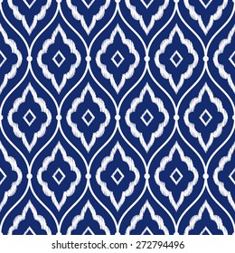Seamless porcelain indigo blue and white vintage Persian ikat pattern vector