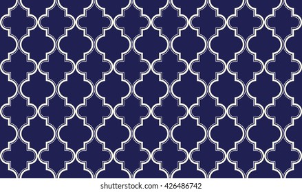 Seamless porcelain indigo blue and white ornate chic moroccan islamic pattern vector