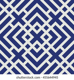 Seamless porcelain indigo blue and white art deco geo lines pattern vector