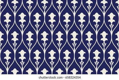 Seamless porcelain indigo blue and white vintage art deco ogee floral pattern vector