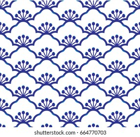 Seamless porcelain indigo blue and white simple art decor vector, chinese blue background, ceramic  pattern