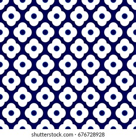 Seamless porcelain indigo blue and white simple art decor vector, chinese blue background, ceramic pattern flower