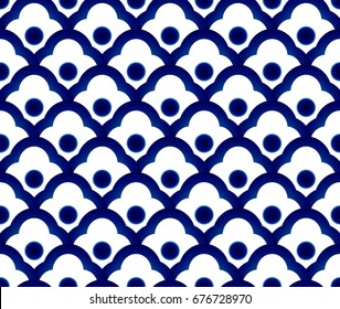 Seamless porcelain indigo blue and white simple art decor vector, chinese blue background, ceramic thai pattern