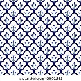 Seamless porcelain indigo blue and white, simple art decor vector, ceramic pattern design, china ware background