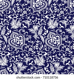 Seamless porcelain indigo blue and white , Vector illustration