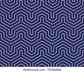 Seamless porcelain indigo blue and white op art geo abstract isometric vintage stripes pattern vector
