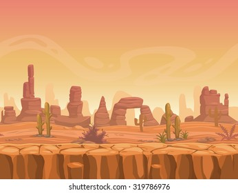Seamless prairie landscape, nature unending background, separated layers ready for animation