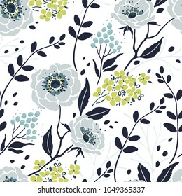 Seamless pretty pattern with abstract flowers Anemone, Hydrangea, branches and leaves. Vector floral illustration on white background.