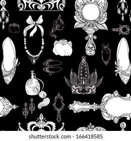 Seamless princess accessories on black vector illustration