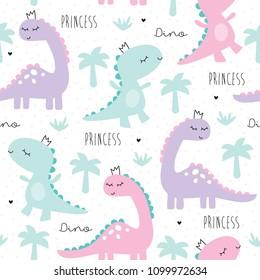 seamless princess dinosaur animal pattern vector illustration