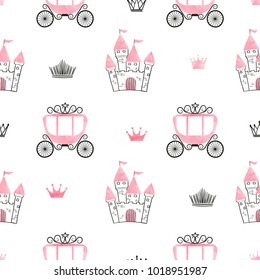 Seamless princess pattern with castles, crowns and carriages. Vector background.