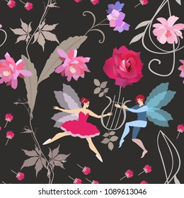 Seamless print for fabric, wallpaper with cute winged fairy and elf playing on the lyre in shape of rose, treble clef , buds and flowers isolated on black background in vector. Vintage illustration.
