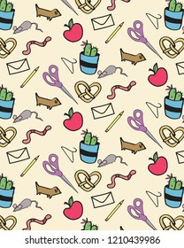 Seamless Print Pattern Back to School Supplies Vector Teacher Student Cactus Sissors worms silly cute apple quirky textile pattern background