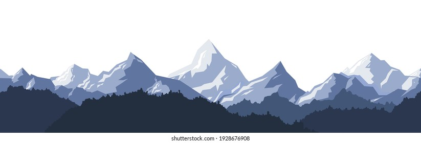 Seamless psttern of Colored mountains with trees. Vector illustration.