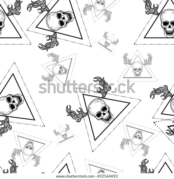 Seamless psychedelic pattern with skull. Mystic esoteric boho chic hipster tattoo style. Fashion trend. Triangle pyramid and deer horns. Fabric abstract retro vintage disco pattern