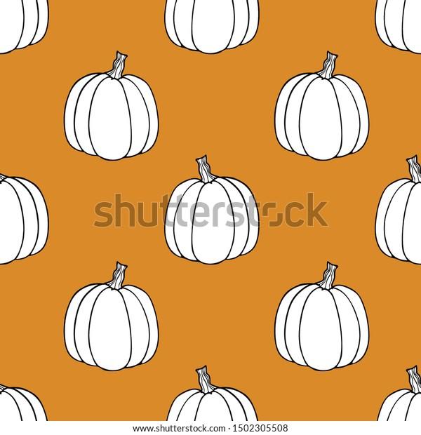 Seamless Pumpkin Backgroundoutline Drawing Pumpkinflat Style