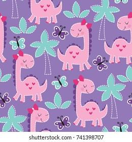 seamless purple dinosaur animal pattern vector illustration