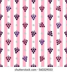 seamless purple grape with silver dot glitter pattern on stripe background