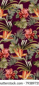 Seamless purple pattern with tropical exotic flowers and leaves. Vintage colorful pattern with plants. Bright summer pattern.