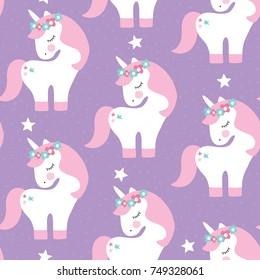 seamless purple unicorn pattern vector illustration