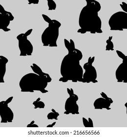 seamless rabbit silhouette pattern. vector illustration