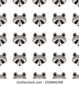 Seamless raccoon pattern in flat graphics. Raccoon vector Illustration. Pixel art. 8 bit