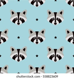 Seamless raccoon pattern in flat graphics. Raccoon vector Illustration.