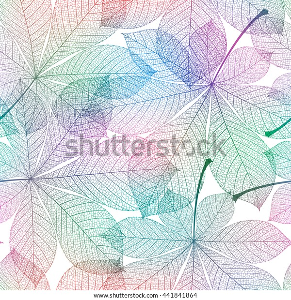 Seamless rainbow chestnut leaves pattern. Vector abstract illustration.
