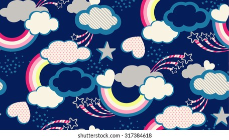 Seamless rainbow cloud hearts and sky illustration retro style background pattern in vector