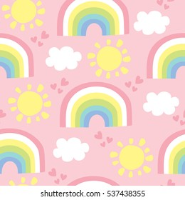 seamless rainbow and clouds pattern vector illustration