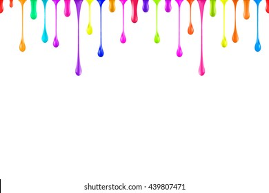 seamless rainbow oil paint glossy drops isolated on white. nail polish drops falling down. multicolor nail varnish drips. colorful paint ink droplet. vector. 3d illustration.