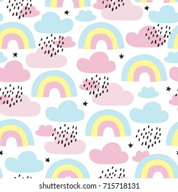 seamless rainbows and clouds pattern vector illustration