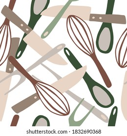 Seamless random isolated pattern with kitchen ware ornament. Knife, spoon, fork, corolla tools ornament in pastel colors on white background. Designed for fabric design, textile print, wrapping, cover