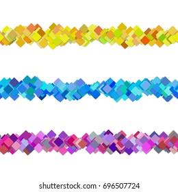 Seamless random square pattern paragraph divider line design set - vector design elements from colored diagonal rounded squares with shadow effect