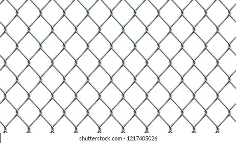 Seamless  realistic chain link fence background.  Vector mesh isolated on white background.